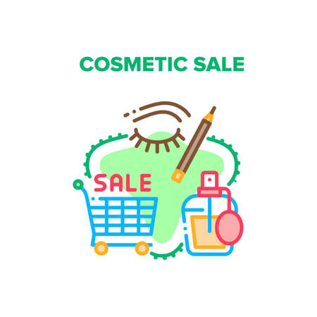 Cosmetic Sale Vector Icon Concept. Cart For Carrying Buying Aromatic And Health Treatment Products, Store Cosmetic Sale. Perfume Spray Bottle And Eyeliner Beauty Accessory Color Illustration