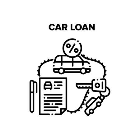 Car Loan Service Vector Icon Concept. Car Loan Service Investment Structure For Buy Under Credit Percents Transport And Getting Key From Vehicle. Payment Agreement For Automobile Black Illustration