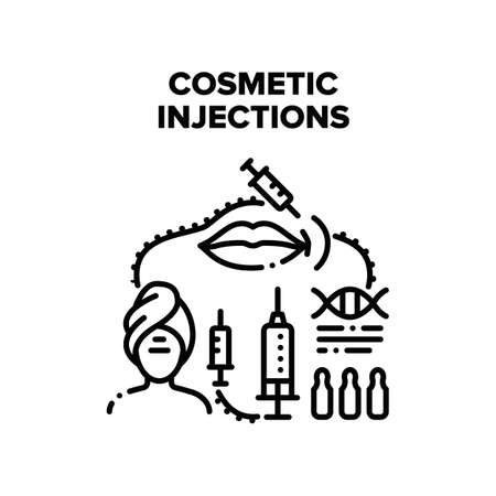 Cosmetic Injections Procedure Vector Icon Concept. Cosmetic Injections Medical Treatment Woman In Beauty Salon Or Clinic. Botox Medicine Therapy For Lips Or Face Black Illustration Ilustração Vetorial