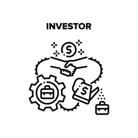 Investor Work Vector Icon Concept. Investor Work And Financial Management, Businessman Handshaking With Partner After SuccessFul Deal. Finance Working Process For Earning Money Black Illustration