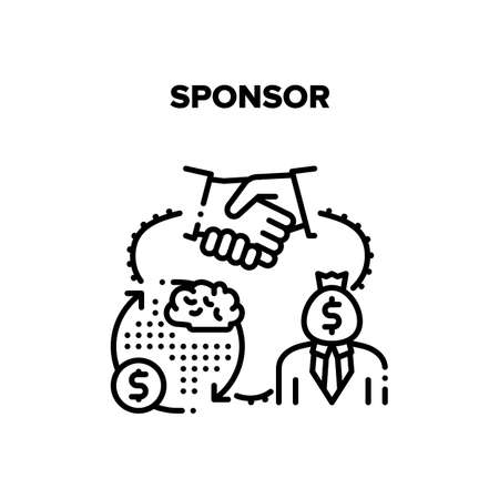 Sponsor Aid Vector Icon Concept. Sponsor Help Start Business, Investor Researching And Calculating Financial Profit, Signing Agreement And Handshaking After Successful Deal Black Illustration
