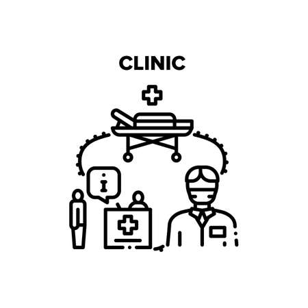 Clinic Treatment Vector Icon Concept. Hospital Reception For Information, Stretcher For Transportation Patient And Doctor For Treat Illness Or Make Operation, Clinic Treatment. Black Illustration