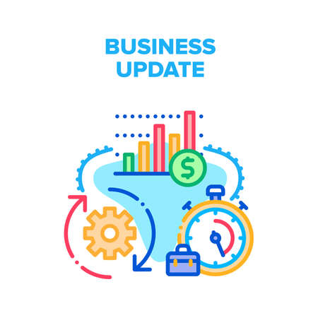 Business Update Vector Icon Concept. Business Update Technology And Strategy, Running Time For Updating Data And Analyzing Financial Market Chart. Upgrade Software Version Color Illustration Vector Illustratie