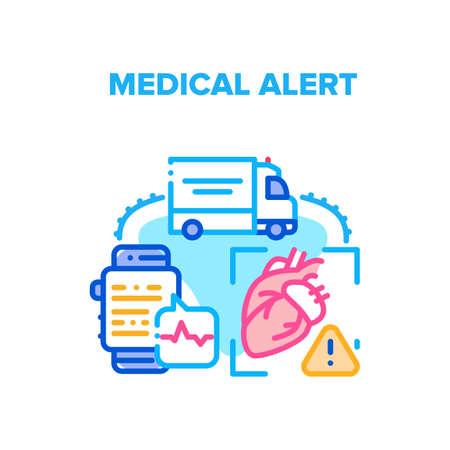 Medical Alert Vector Icon Concept. Medical Alert Of Heart Disease, Ambulance Transportation To Hospital, Monitoring Heartbeat On Smart Watch Digital Gadget. Medicine First Aid Color Illustration