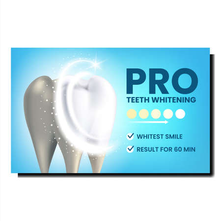 Pro Teeth Whitening Creative Promo Banner Vector. Professional Teeth Enamel Whitening, Dental Clinic Medical Occupation Advertising Poster. Whitest Smile Style Concept Template Illustration