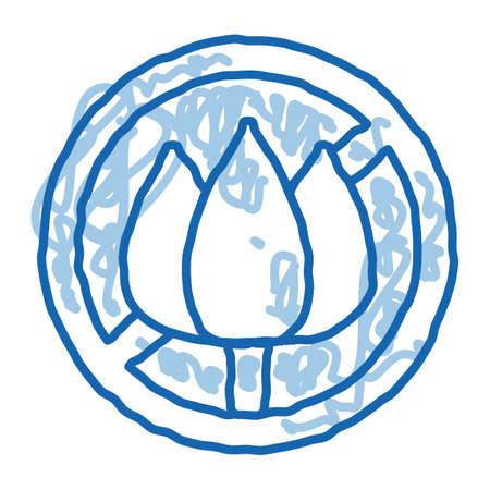 Allergen Free Sign Flower sketch icon vector. Hand drawn blue doodle line art isolated symbol illustration