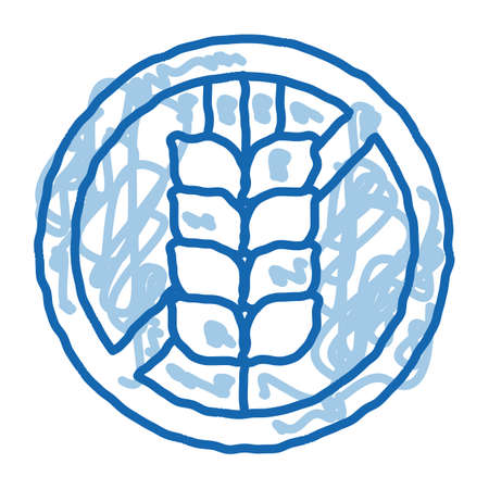 Allergen Free Sign Wheat sketch icon vector. Hand drawn blue doodle line art isolated symbol illustration