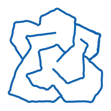 Crumpled Piece Of Paper sketch icon vector. Hand drawn blue doodle line art isolated symbol illustration