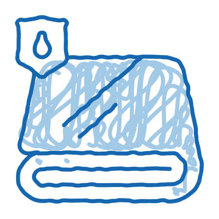 Waterproof Material Fabric Towel sketch icon vector. Hand drawn blue doodle line art isolated symbol illustration