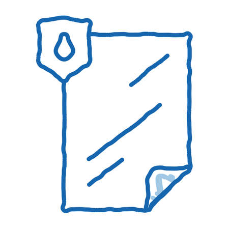Waterproof Material File sketch icon vector. Hand drawn blue doodle line art isolated symbol illustration