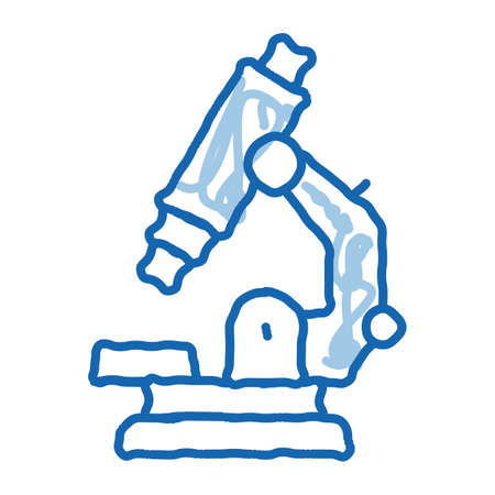 Medical Equipment Microscope sketch icon vector. Hand drawn blue doodle line art isolated symbol illustration