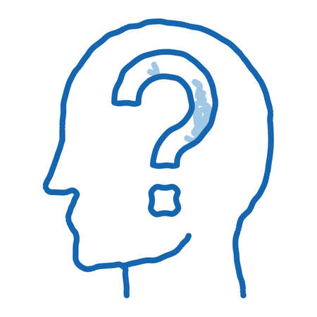 Question Mark In Man Silhouette Mind sketch icon vector. Hand drawn blue doodle line art isolated symbol illustration Vektorové ilustrace