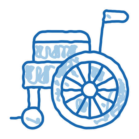Self-Propelled Wheelchair Equipment sketch icon vector. Hand drawn blue doodle line art isolated symbol illustration Vector Illustration