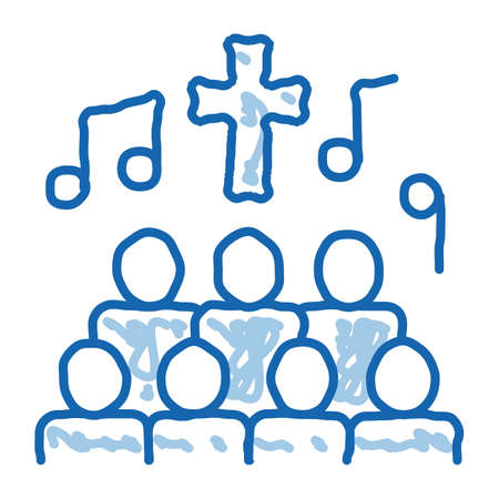 Church Choir Singing Song Concert sketch icon vector. Hand drawn blue doodle line art isolated symbol illustration