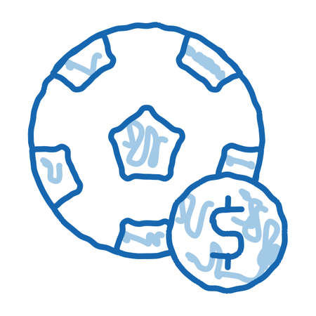 Soccer Ball Betting And Gambling sketch icon vector. Hand drawn blue doodle line art sign. isolated symbol illustration