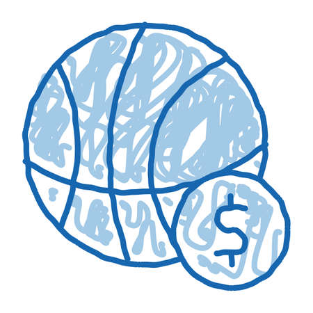 Basketball Ball Betting And Gambling sketch icon vector. Hand drawn blue doodle line art sign. isolated symbol illustration