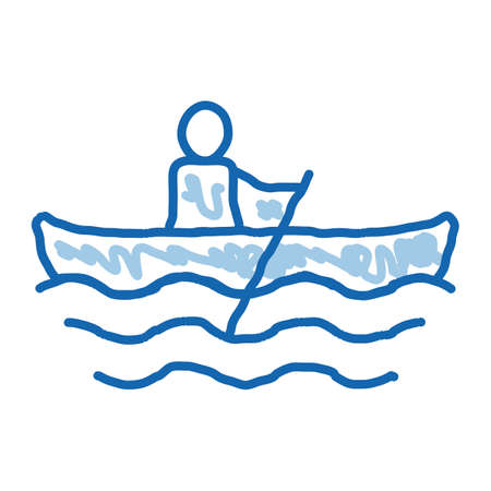 Rowing Boat Canoeing sketch icon vector. Hand drawn blue doodle line art sign. isolated symbol illustration