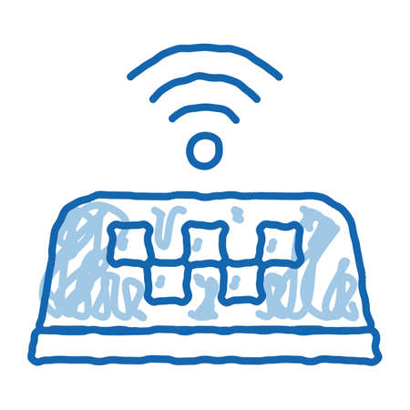 Presence of WiFi in Taxi Online Taxi sketch icon vector. Hand drawn blue doodle line art sign. isolated symbol illustration