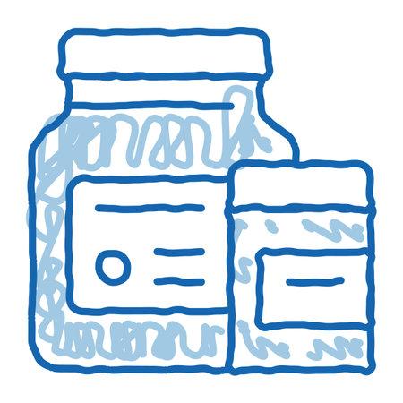Medicine Healthcare Bottles Supplements sketch icon vector. Hand drawn blue doodle line art sign. isolated symbol illustration