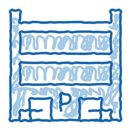 Parking Location sketch icon vector. Hand drawn blue doodle line art Parking Location sign. isolated symbol illustration Vektoros illusztráció
