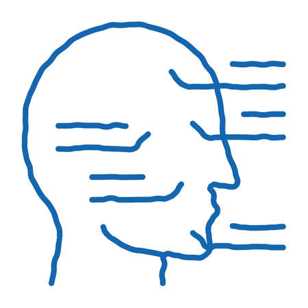 Face Injection Sites sketch icon vector. Hand drawn blue doodle line art Face Injection Sites sign. isolated symbol illustration