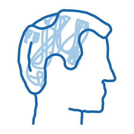 Balding Man Profile sketch icon vector. Hand drawn blue doodle line art Balding Man Profile sign. isolated symbol illustration