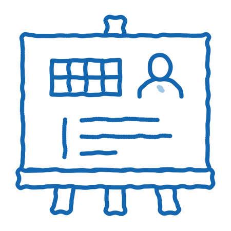 Man Result Board sketch icon vector. Hand drawn blue doodle line art Man Result Board sign. isolated symbol illustration Vector Illustratie