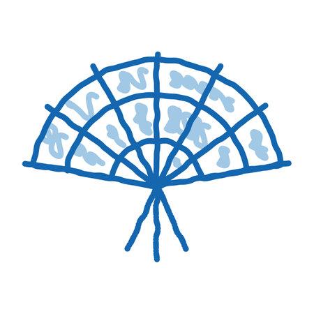South Korea Fan sketch icon vector. Hand drawn blue doodle line art South Korea Fan sign. isolated symbol illustration