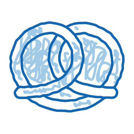 Bakery Pretzel Tasty Food sketch icon vector. Hand drawn blue doodle line art Salty Or Sweet German Traditional Pretzel Delicious Nutrition sign. isolated symbol illustration Vettoriali