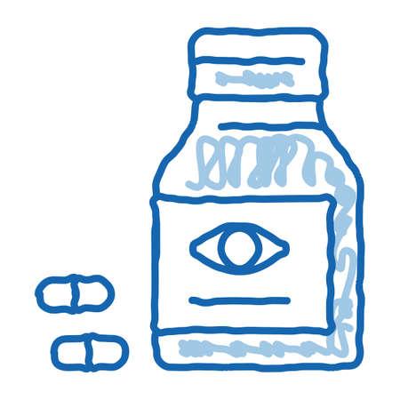 Bottle With Pills For Eyes sketch icon vector. Hand drawn blue doodle line art Biologically Active Supplement Medication Pills Package sign. isolated symbol illustration Vektoros illusztráció