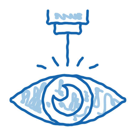 Eye Laser Correction Device sketch icon vector. Hand drawn blue doodle line art Medicine Clinic Optometry Ray For Correct Eye Vision sign. isolated symbol illustration