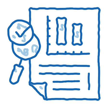 File Infographic Research sketch icon vector. Hand drawn blue doodle line art Analysis And Approved By Magnifier Glass Infographic Document sign. isolated symbol illustration