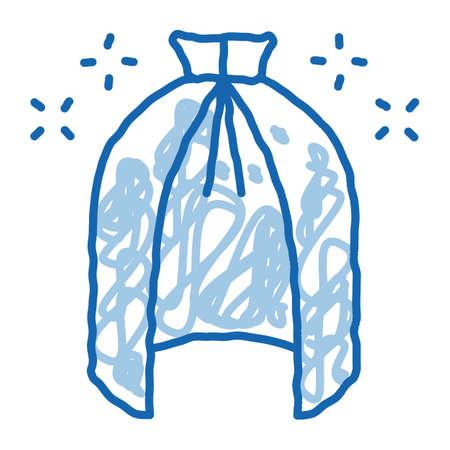 Magic Cloak Cape sketch icon vector. Hand drawn blue doodle line art Magic Cloak Cape sign. isolated symbol illustration