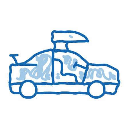 Car Door Tuning sketch icon vector. Hand drawn blue doodle line art Car Door Tuning sign. isolated symbol illustration