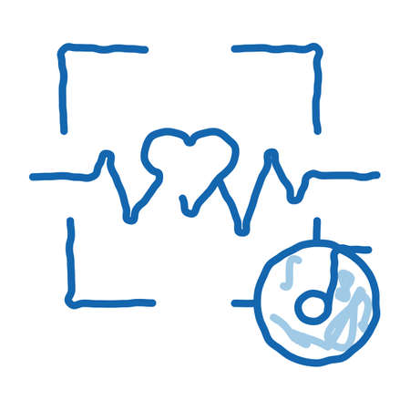 Effect of Music on Heart Rate sketch icon vector. Hand drawn blue doodle line art Effect of Music on Heart Rate Sign. isolated symbol illustration