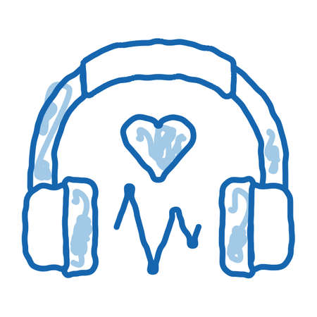 Influence on Heart of Music sketch icon vector. Hand drawn blue doodle line art Influence on Heart of Music Sign. isolated symbol illustration