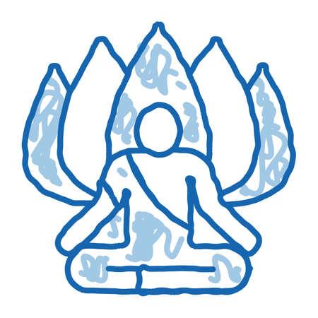 Shaman of Meditation sketch icon vector. Hand drawn blue doodle line art Shaman of Meditation Sign. isolated symbol illustration