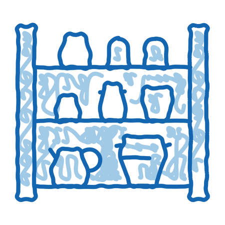 cupboard with clay products sketch icon vector. Hand drawn blue doodle line art cupboard with clay products sign. isolated symbol illustration