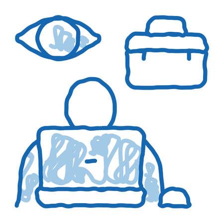 employee supervision sketch icon vector. Hand drawn blue doodle line art employee supervision sign. isolated symbol illustration Vektoros illusztráció
