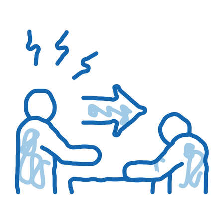 reprimand man sketch icon vector. Hand drawn blue doodle line art reprimand man sign. isolated symbol illustration