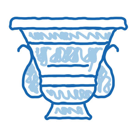ancient greek feast bowl sketch icon vector. Hand drawn blue doodle line art ancient greek feast bowl sign. isolated symbol illustration