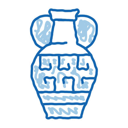 greek ornamental vase sketch icon vector. Hand drawn blue doodle line art greek ornamental vase sign. isolated symbol illustration