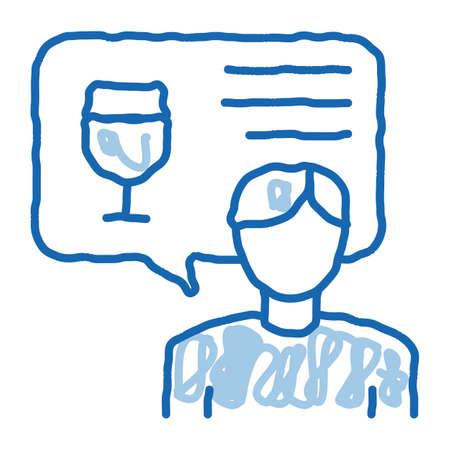 representative of wine sketch icon vector. Hand drawn blue doodle line art representative of wine sign. isolated symbol illustration