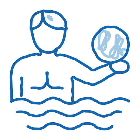 man and volleyball water ball sketch icon vector. Hand drawn blue doodle line art man and volleyball water ball sign. isolated symbol illustration