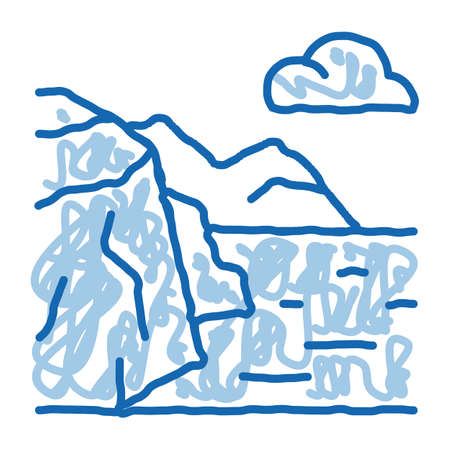 mountain landscape near sea sketch icon vector. Hand drawn blue doodle line art mountain landscape near sea sign. isolated symbol illustration
