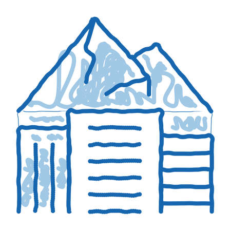 high-rise buildings among mountains sketch icon vector. Hand drawn blue doodle line art high-rise buildings among mountains sign. isolated symbol illustration