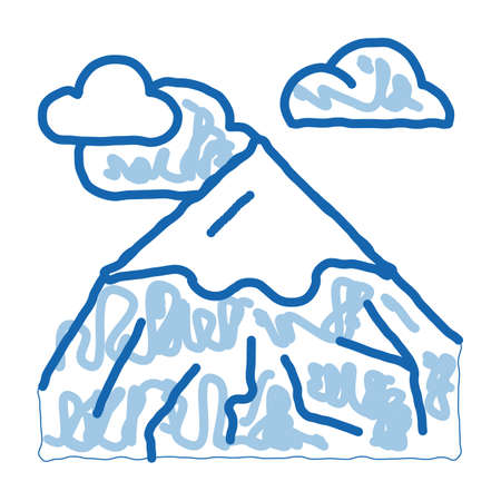 head of mountain sketch icon vector. Hand drawn blue doodle line art head of mountain sign. isolated symbol illustration