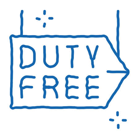 duty free pointer sketch icon vector. Hand drawn blue doodle line art duty free pointer sign. isolated symbol illustration