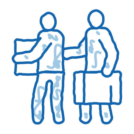 people with luggage sketch icon vector. Hand drawn blue doodle line art people with luggage sign. isolated symbol illustration