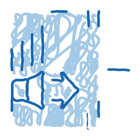sound speaker operation sketch icon vector. Hand drawn blue doodle line art sound speaker operation sign. isolated symbol illustration